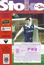 Football Programme plus Match Ticket>STOKE CITY v OXFORD UNITED Jan 1994