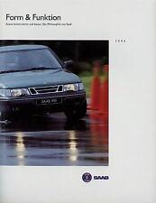 Prospekt Saab Form & Funktion 1994 9000 CD CS 900 Autoprospekt broschyr bil