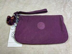 Kipling XL Large Creativity Dark Plum Tonal Purple Pouch Phone Wristlet Wallet