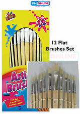 12 PC Artist Brushes Paint Brush Set Pony Hair Assorted Sizes Hobby Art Crafts
