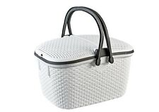 White Large 30L Rattan Effect Picnic Basket Locked Cover Handles Clip Down Flaps