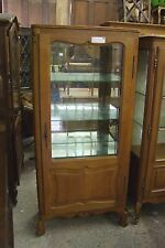VINTAGE FRENCH CARVED OAK VITRINE GLAZED DISPLAY CABINET - (001213)