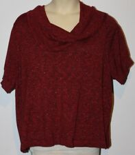 WOMEN'S APT 9 COWL NECK SHORT SLEEVE KNIT STRETCH TOP BLOUSE METALLIC RED 3X