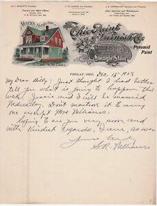 RARE - 1908 Color Litho Illustrated Advertising Letterhead - Ohio Paint Varnish