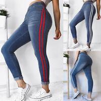 Women Pencil Stretch Pants Casual Denim Skinny Jeans High Waist Slim Trousers