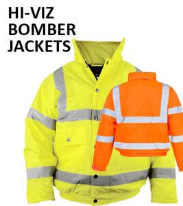 PLAIN NO TEXT Hi-Viz BOMBER Motorway High Visibility Safety Work Wear Jacket P