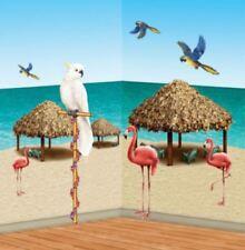 HAWAIIAN TROPICAL BEACH SCENE SETTER TIKI HUT AND BIRDS PROPS stick on décor