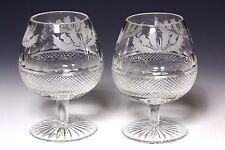 2X GENUINE Edinburgh Crystal Thistle Large Brandy Glasses 1st Quality & Signed