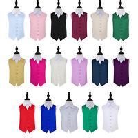 DQT Highest Quality Solid Plain Page Boys' Wedding Waistcoat Kids Tuxedo Vest