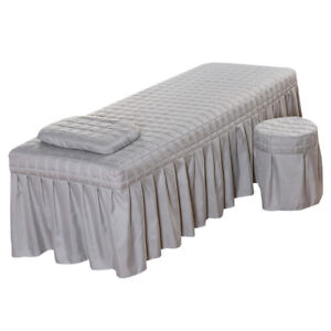 Beauty Massage Bed Skirt with Hole Pillowcase & Stool Cover 185x70cm Grey