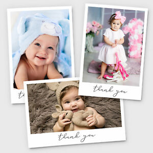 New Baby Thank You Cards Personalised Christening Birthday Girl or Boy