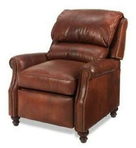 NEW LEATHER RECLINER CHAIR  WOOD HAND-CRAFTED USA  CASUAL STYLE  CUSTOMIZE I
