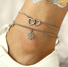 2pcs/Set Double Heart Sun Flower Pendant Anklee Women Anklet Adjustable Chain