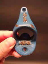 Vintage Antique Style Cast Iron Beer Soda Bottle Cap Opener Old Blue Paint