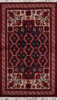 Traditional Tribal Balouch Afghan Oriental Area Rug Wool Hand-Knotted Foyer 3x6