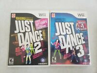 Just Dance 2, 3, Nintendo Wii - 2 Game Bundle Lot -Tested FREE FAST SHIPPING