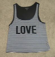 Express Women's Black White Striped LOVE Tank Top Shirt Size X-Small Sequin XS