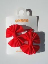 Gymboree FRIENDSHIP CAMP Red Ribbon Bow Hair Clips ~ NWT!