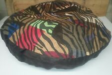 """Ashford Court Leather Patch 36"""" round Dog Bed Cover Only Multi-Color TigerPrint"""