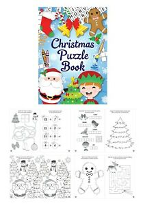 CHRISTMAS Puzzle Activity Colouring Books A6 Kid Party Bag Stocking Fillers