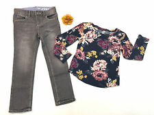 Toddler Girl Fall Winter Outfit Denim Skinny Pants & Old Navy Top 4 Hair Clip