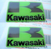 2 x KAWASAKI FAIRING BADGE STICKER DECAL BLACK + GREEN ** GENUINE & UK STOCK **