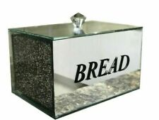 Silver Crushed Diamond Crystal Mirrored Bread Bin Container, Kitchen Gift_UK
