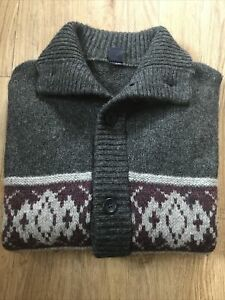 """Mens Vintage Gap Wool Mix Button Up Cardigan Grey Nordic Style XXL 44-46"""" Chest"""