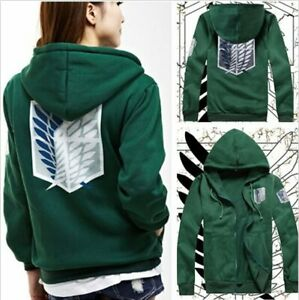 Green hoodie printed with Attack on Titan Scout logo, the wings of freedom