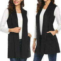 Women Casual Sleeveless Long Duster Coat Jacket Cardigan Suit Vest Waistcoat Top