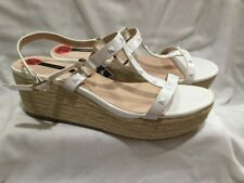 NEW KENSIE WHITE PATENT LEATHER STUDDED WEDGE PLATFORM SANDALS SHOES SZ 10