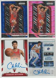 Chandler Hutchison LOT 4 Cracked Ice Ticket #/22, Next Day Auto, Pink Prizms #42