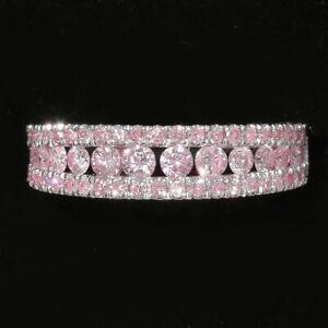 1Ct Natural Pink Diamond 10K White Gold Ring Color Enhanced RPG154-10-7-6