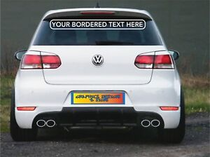 CUSTOM PERSONALISED WITH BORDER FOR REAR WINDOW CAR VAN SHOP STICKER SIGNS DECAL