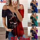 Sexy Women Cold Shoulder T Shirt Short Sleeve Zip V Neck Blouse Rose Loose Tops
