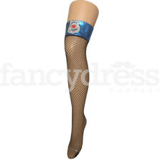 Sexy Police Stockings with Blue Vinyl Top Fancy Dress Thigh Highs Accessory NEW