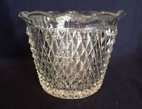 Diamond Point Glass Ice Bucket Vintage Basket Vase Bowl Heavy