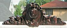 Antique Hand Carved Wood With Fruit, Rococo Ornate Pediment Crest Cornice