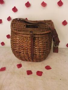 VINTAGE BASKET FISHING CREEL WITH LEATHER STRAP