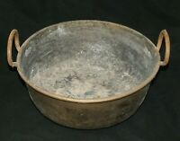 Large Antique Brass Cauldron stock Pot Bucket with Wrought Iron Handles Jam Pot