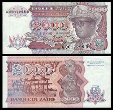Zaire  2000 Zaïres  1-10-1991  Pick 36  SC = UNC