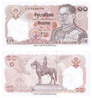 Thailand 10 Baht 1980 King Rama P-87 Banknotes UNC