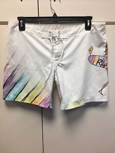 Ripcurl Recycled By Heather Brown Women's Size XL Board Shorts White Beach Short