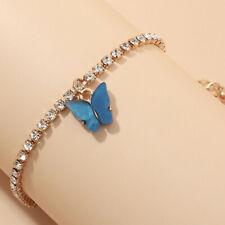 Charm Zircon Bangle Bracelet Jewelery Womans Gold Cute Blue Butterfly