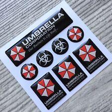Umbrella Corporation 3d domed emblem decal stickers set 8pc