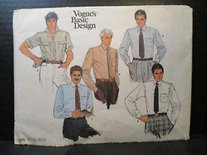"""Vogue Basic Design Pattern 1271 Men's Size 17"""" Neck Shirts Uncut Vintage"""
