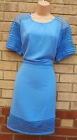 VERY BLUE LACE CROCHET INSERTED BODYCON SHIFT TUBE FORMAL SUMMER DRESS 20 22