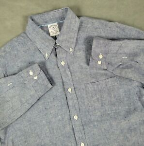 Medium Brooks Brothers Regent Fit 100% Irish Linen Long Sleeve Button Down Shirt
