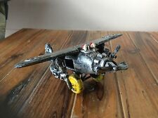 Vintage Cast Iron Toy 3 Prop Bomber Plane 7 Inch
