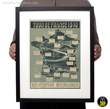 Tour de France 1949 Grand Tour Vintage Cycling Route Map Velo Poster Print